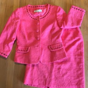 Tahari Arthur Levine jacquard coral skirt suit